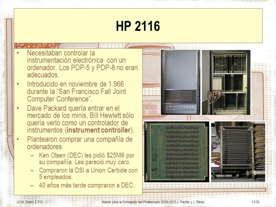 HP 2116 Necesitaban controlar la instrumentación electrónica con un ordenador. Los PDP-5 y PDP-8 no eran adecuados.