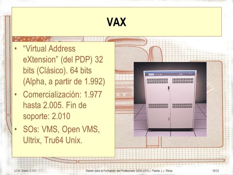 VAX Virtual Address eXtension (del PDP) 32 bits (Clásico). 64 bits (Alpha, a partir de 1.992)