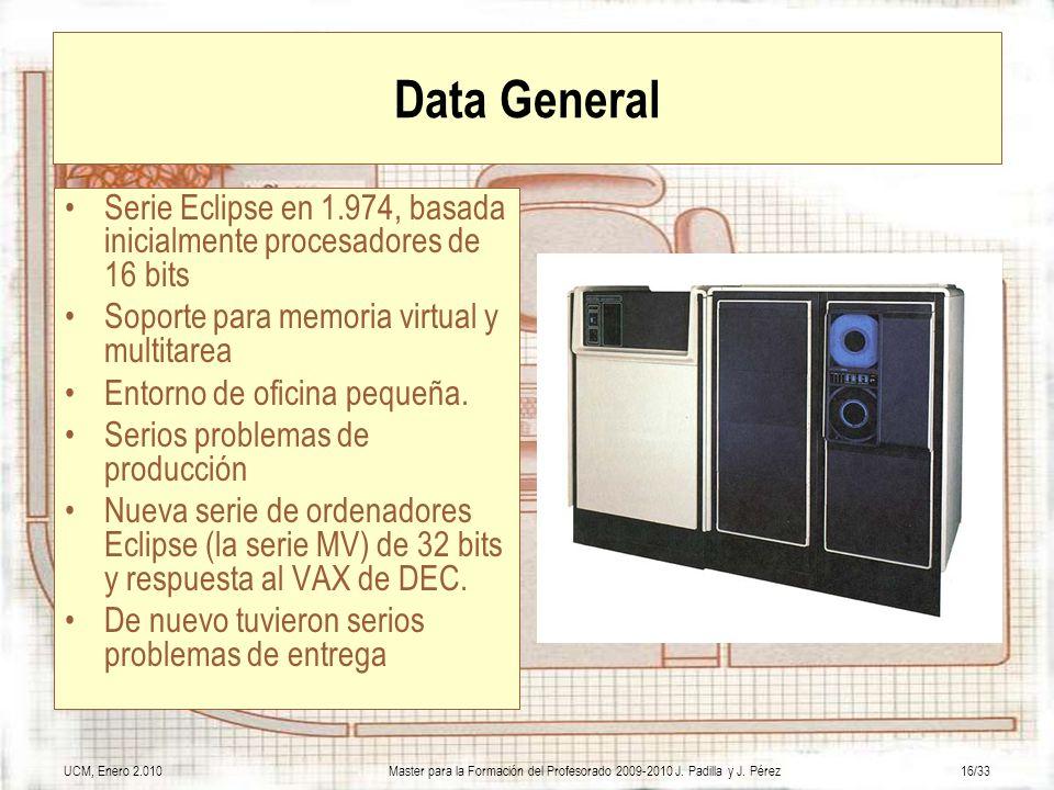 Data GeneralSerie Eclipse en 1.974, basada inicialmente procesadores de 16 bits. Soporte para memoria virtual y multitarea.