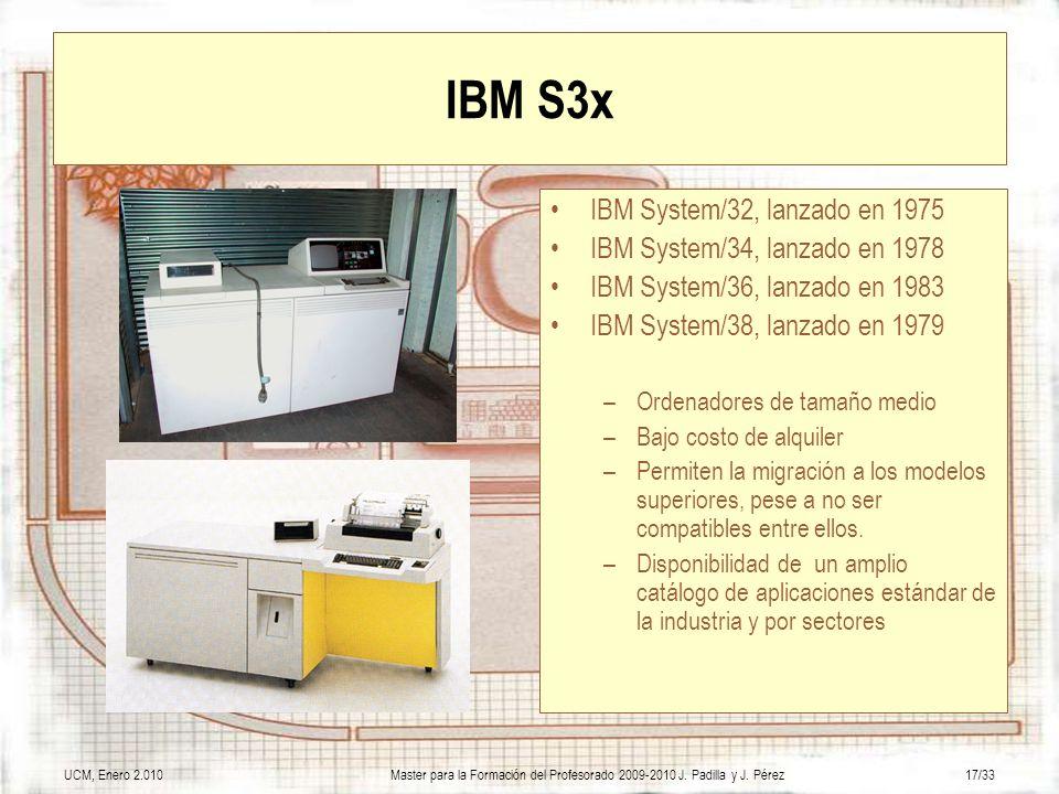 IBM S3x IBM System/32, lanzado en 1975 IBM System/34, lanzado en 1978