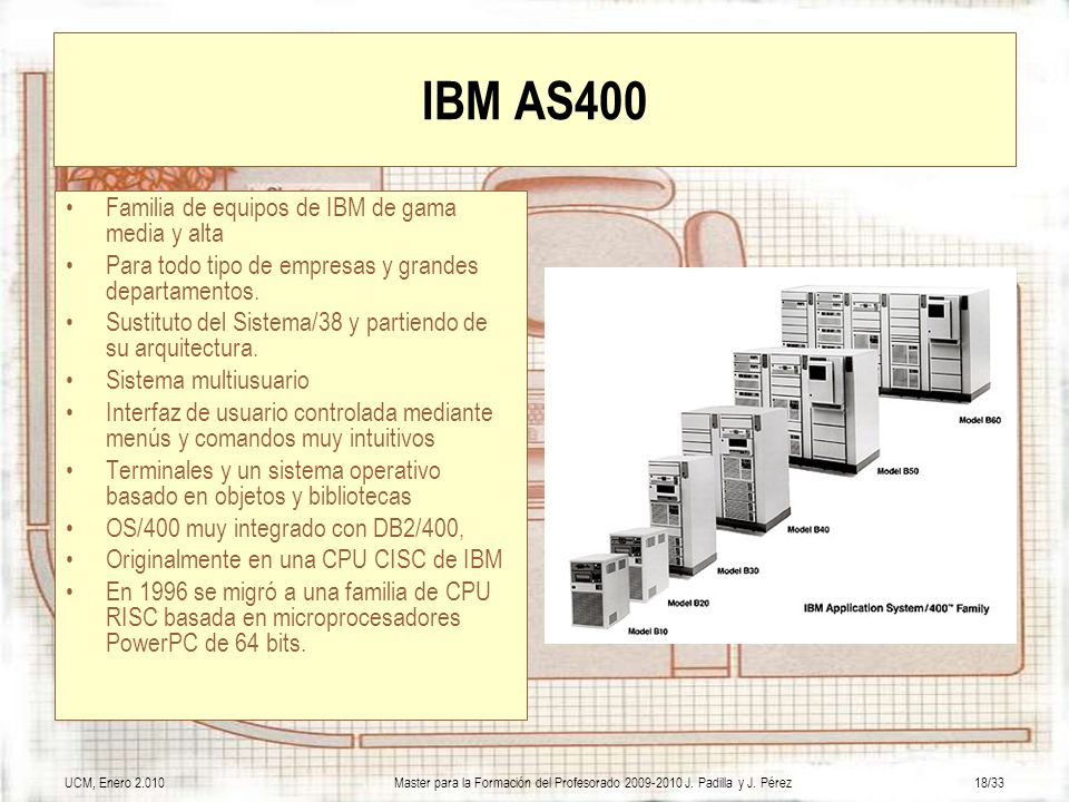 IBM AS400 Familia de equipos de IBM de gama media y alta