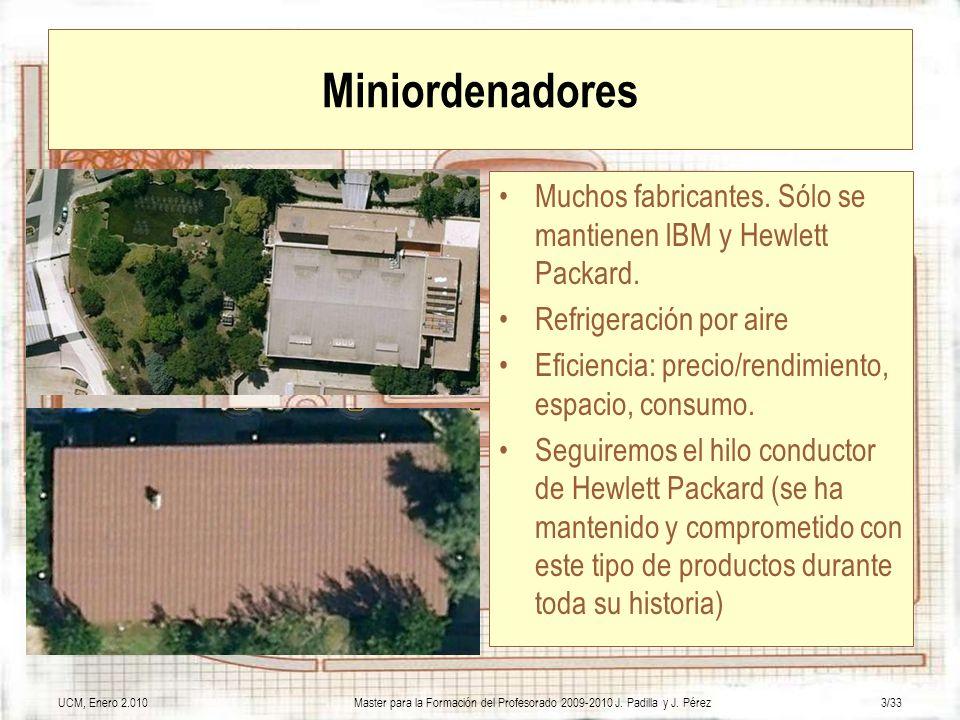 Miniordenadores Muchos fabricantes. Sólo se mantienen IBM y Hewlett Packard. Refrigeración por aire.