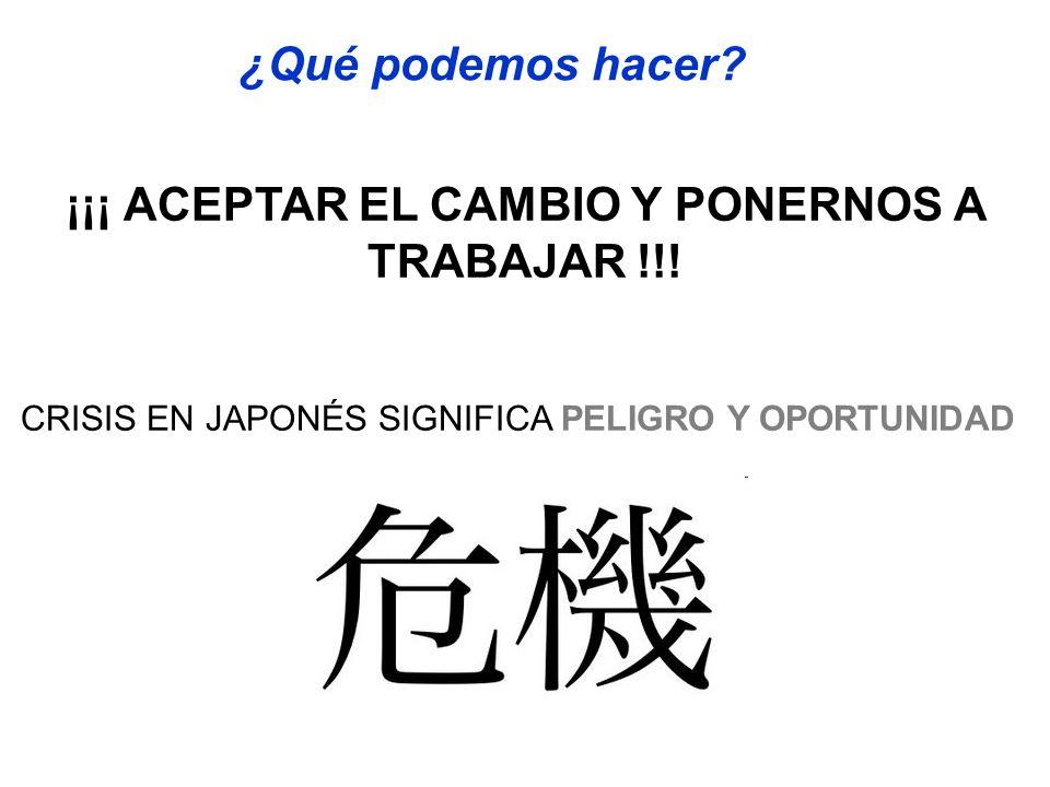 ¡¡¡ ACEPTAR EL CAMBIO Y PONERNOS A TRABAJAR !!!
