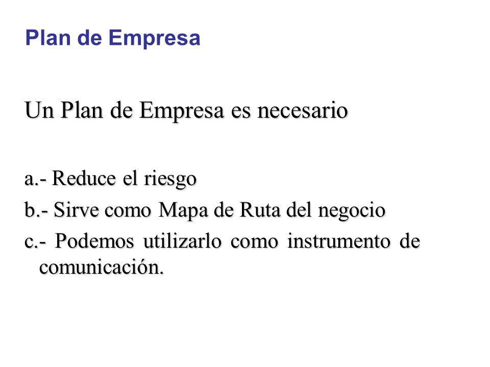 Un Plan de Empresa es necesario