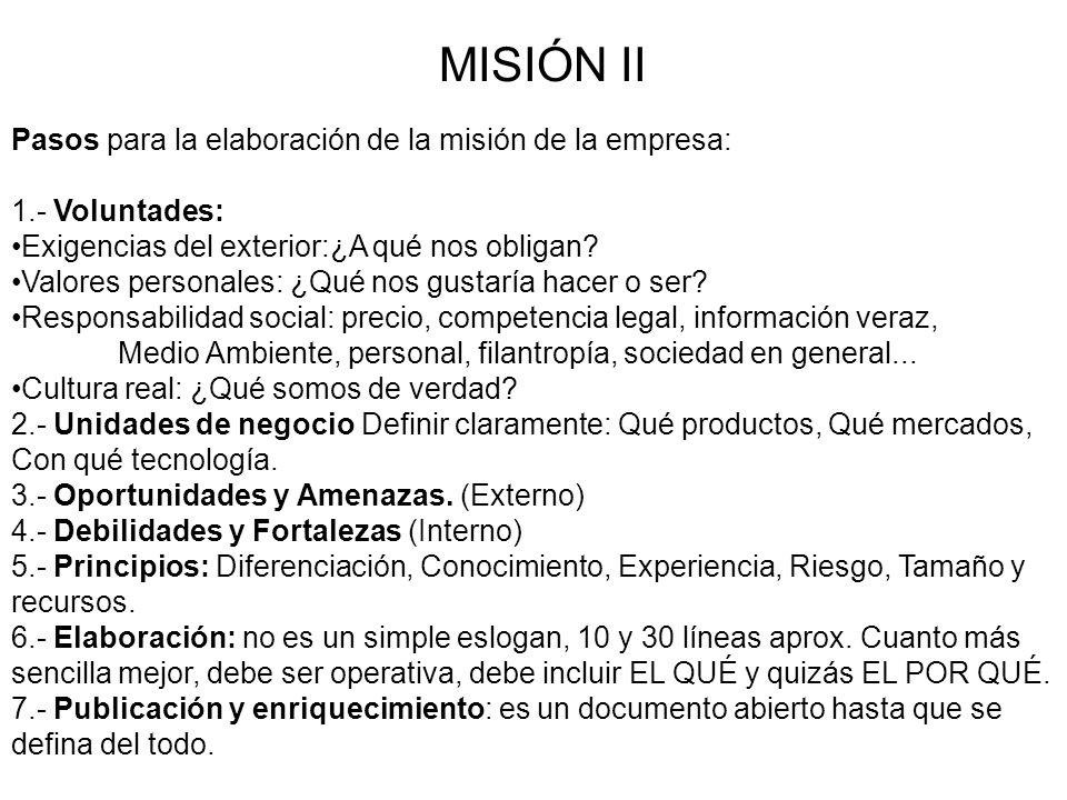 MISIÓN II Pasos para la elaboración de la misión de la empresa: