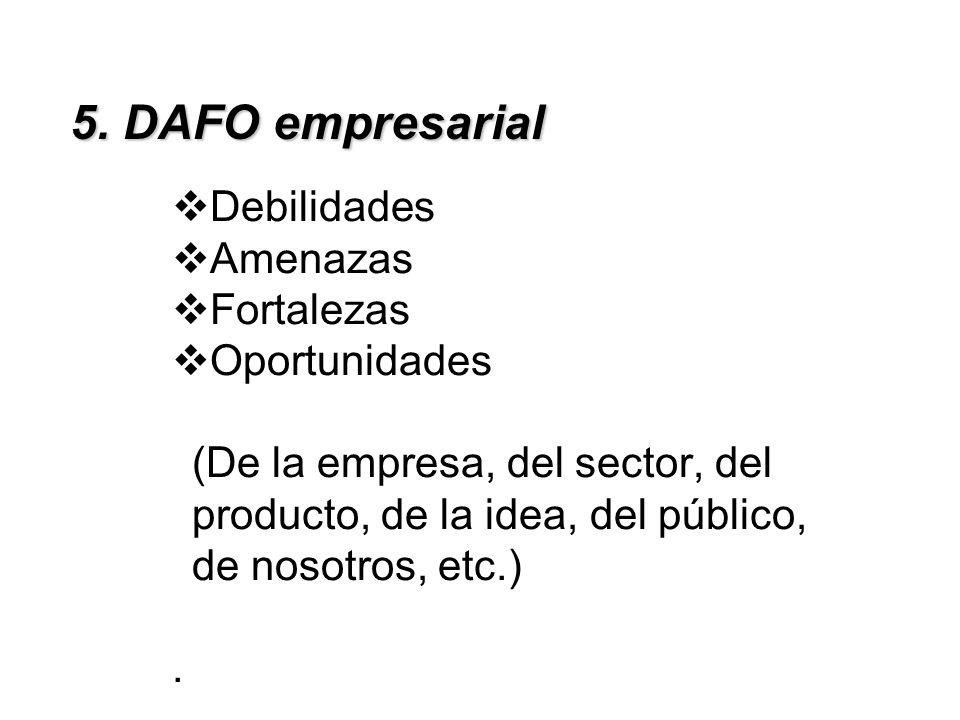 5. DAFO empresarial Debilidades Amenazas Fortalezas Oportunidades