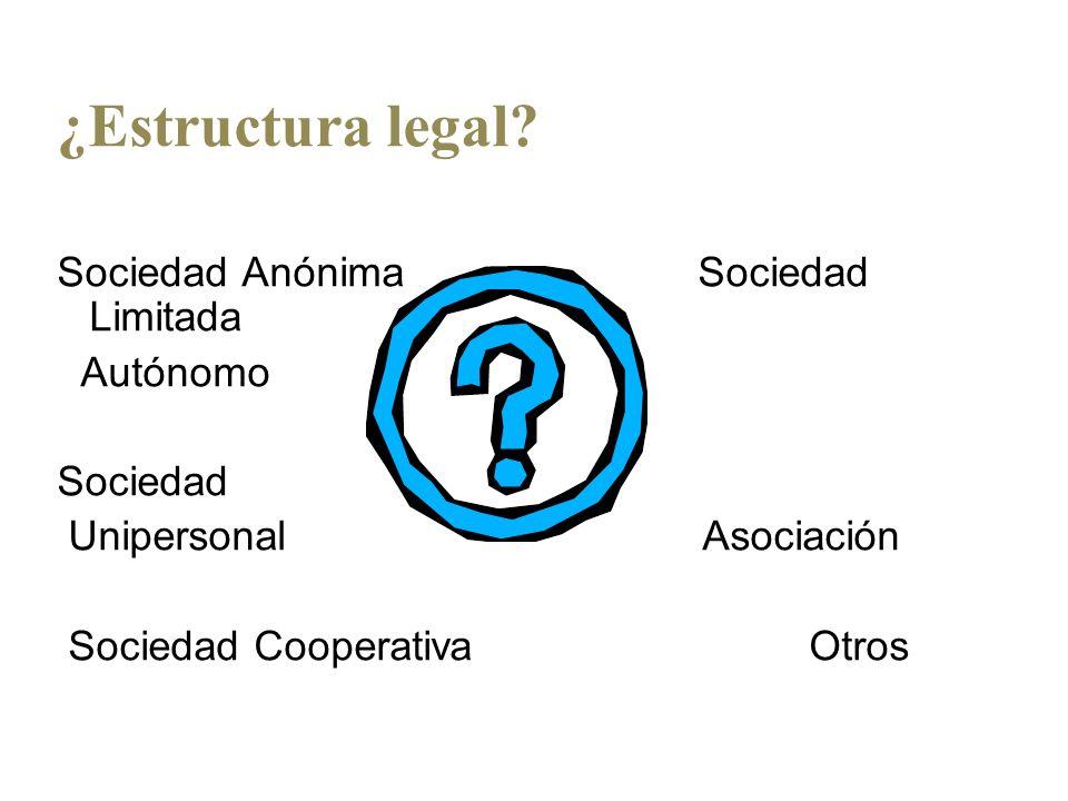 ¿Estructura legal Sociedad Anónima Sociedad Limitada Autónomo