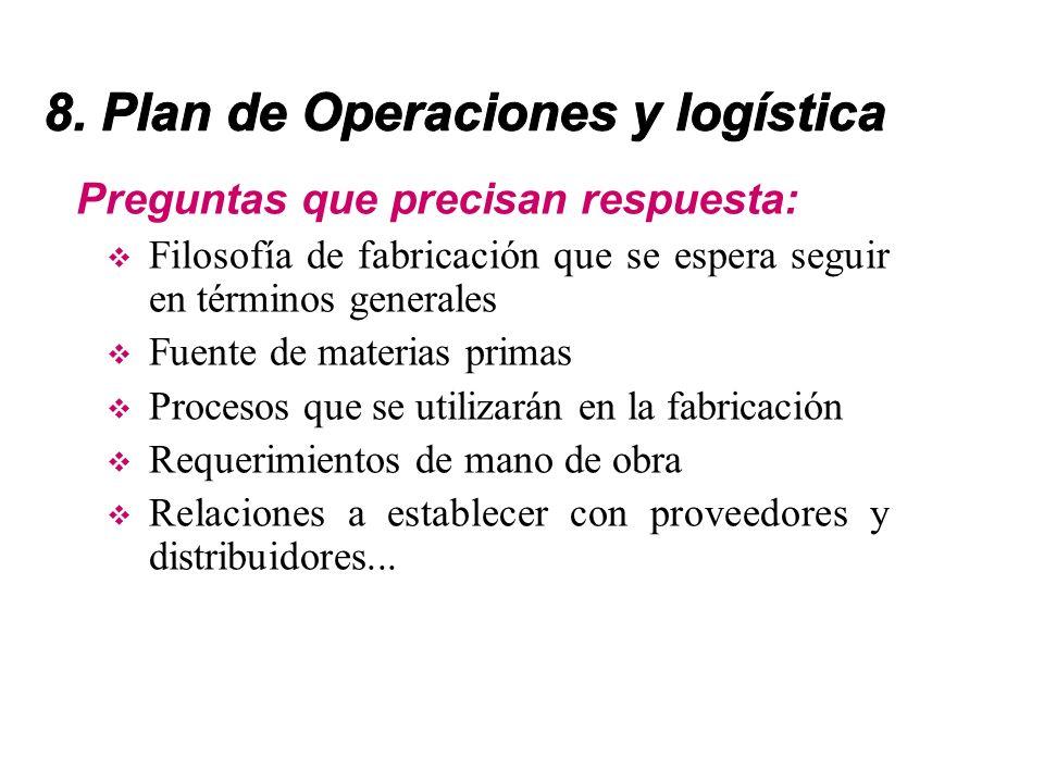 8. Plan de Operaciones y logística