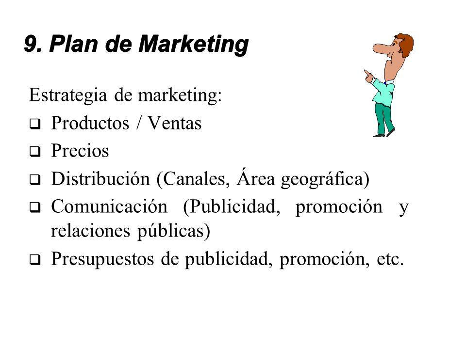 9. Plan de Marketing Estrategia de marketing: Productos / Ventas