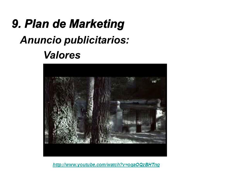 9. Plan de Marketing Anuncio publicitarios: Valores