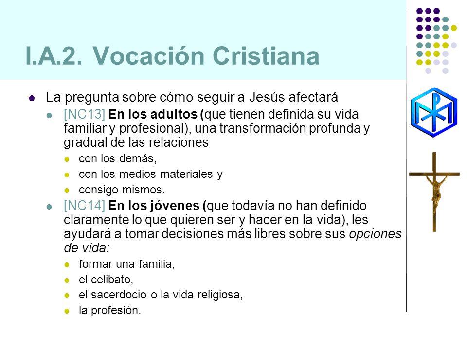I.A.2. Vocación Cristiana La pregunta sobre cómo seguir a Jesús afectará.