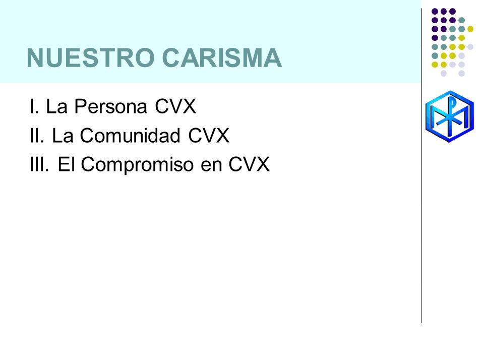 NUESTRO CARISMA I. La Persona CVX II. La Comunidad CVX