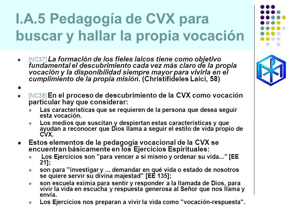 I.A.5 Pedagogía de CVX para buscar y hallar la propia vocación