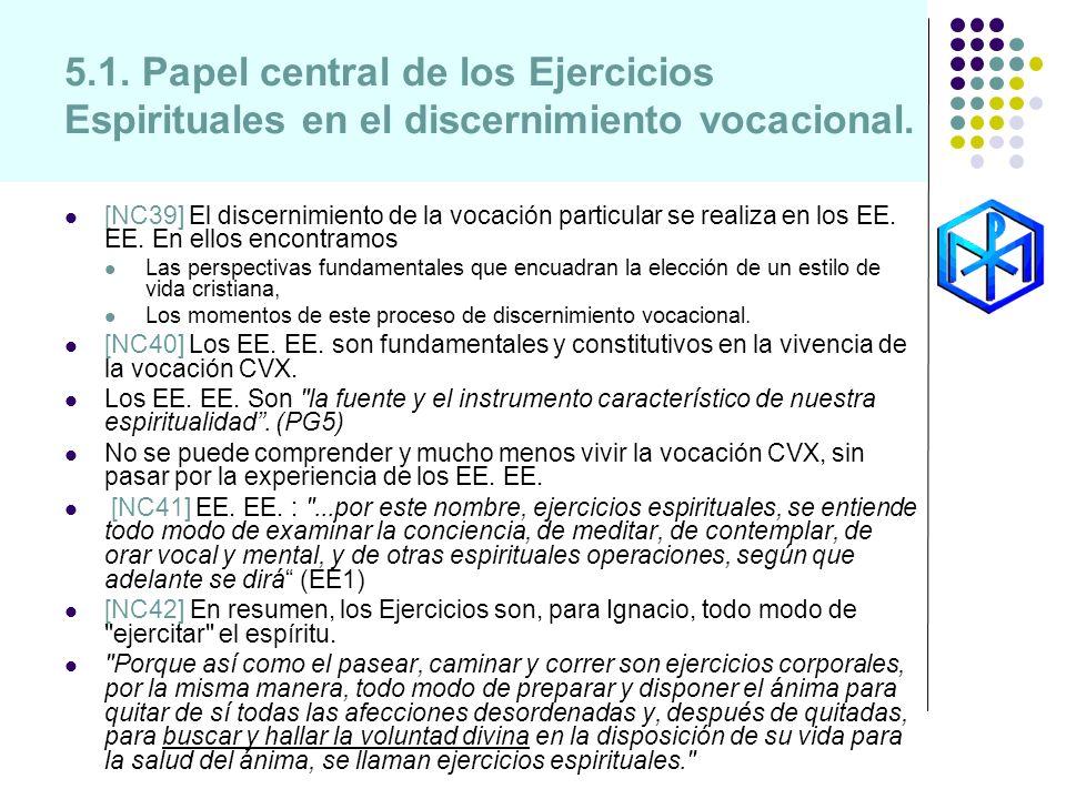 5.1. Papel central de los Ejercicios Espirituales en el discernimiento vocacional.