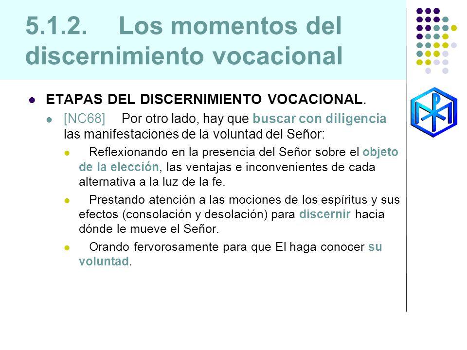 5.1.2. Los momentos del discernimiento vocacional