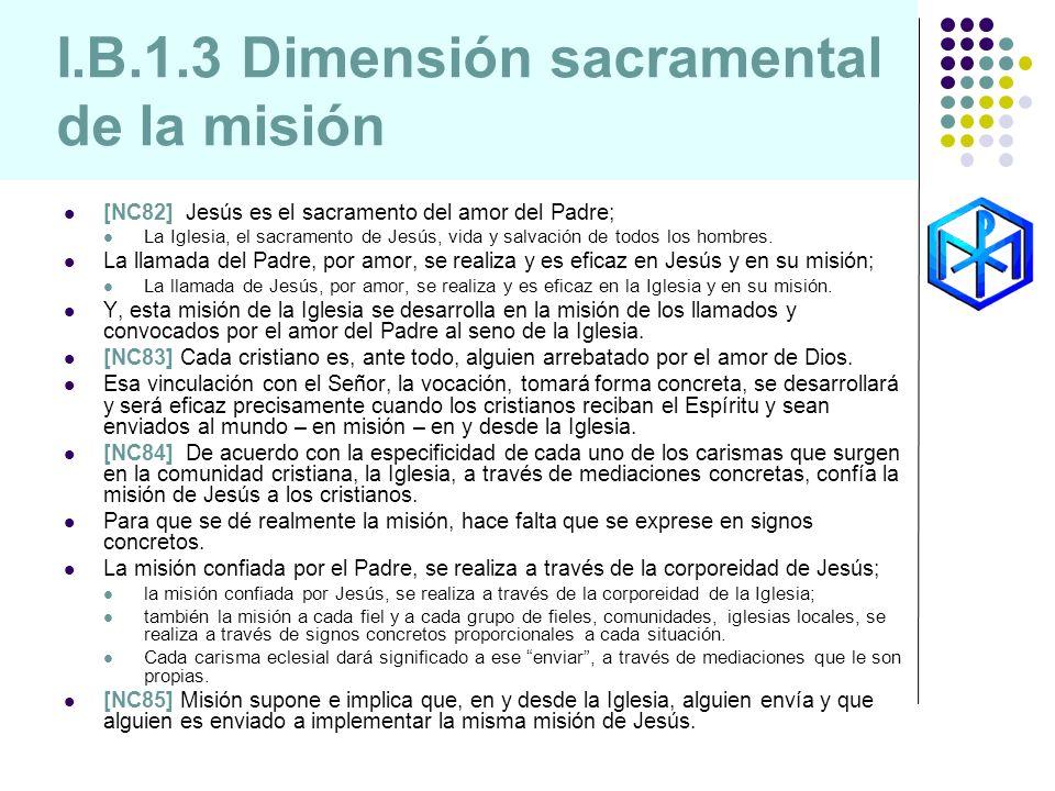 I.B.1.3 Dimensión sacramental de la misión