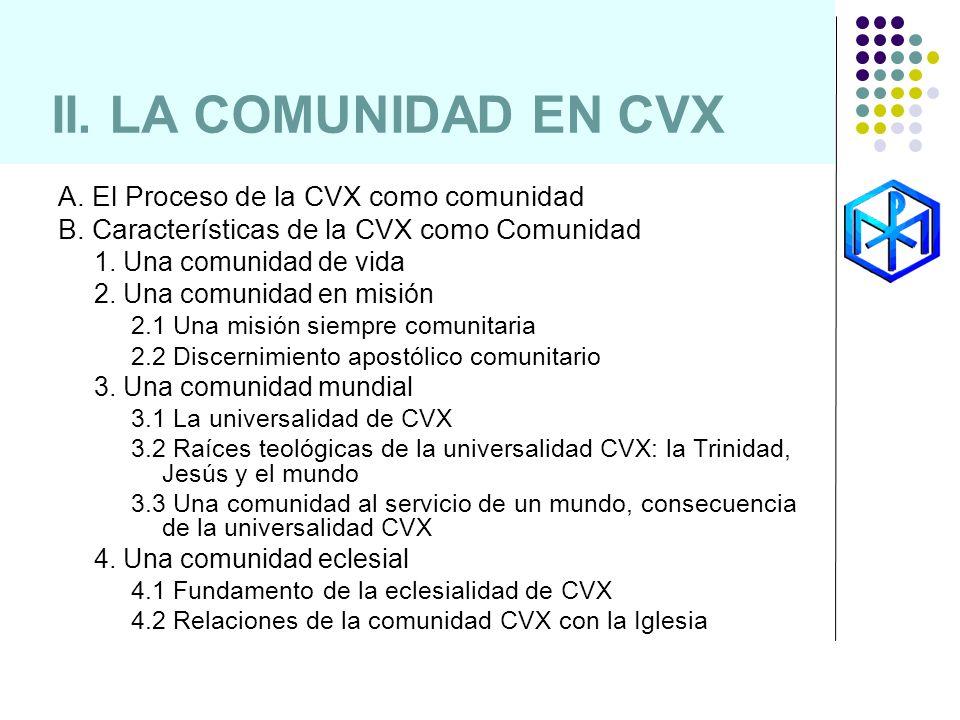 II. LA COMUNIDAD EN CVX A. El Proceso de la CVX como comunidad