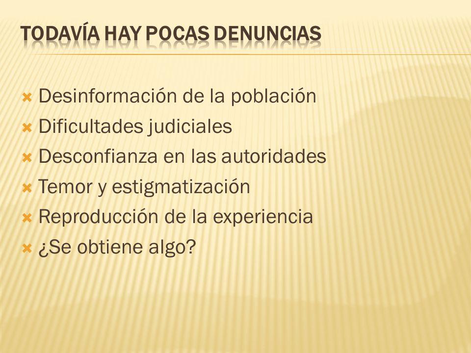 TODAVÍA HAY POCAS DENUNCIAS
