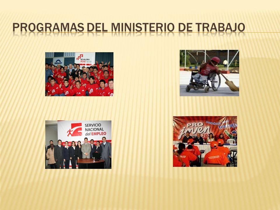 PROGRAMAS DEL MINISTERIO DE TRABAJO