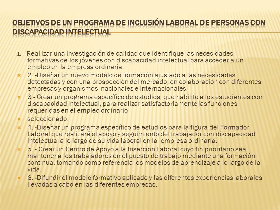 OBJETIVOS DE UN PROGRAMA DE INCLUSIÓN LABORAL DE PERSONAS CON DISCAPACIDAD INTELECTUAL
