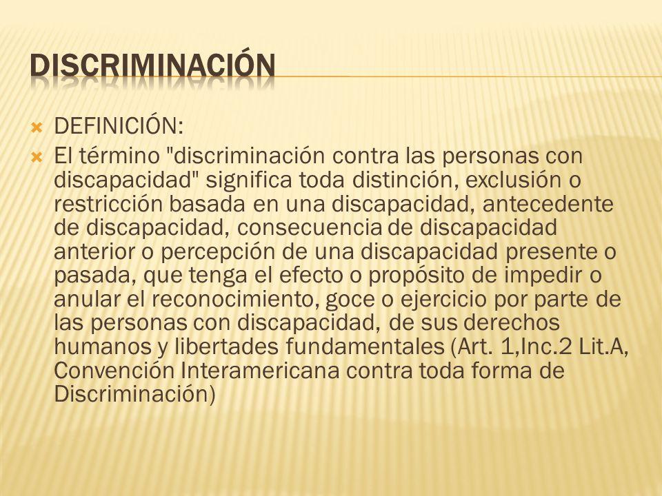 DISCRIMINACIÓN DEFINICIÓN: