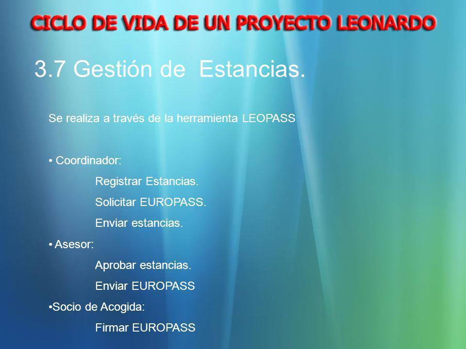 3.7 Gestión de Estancias.Se realiza a través de la herramienta LEOPASS. Coordinador: Registrar Estancias.