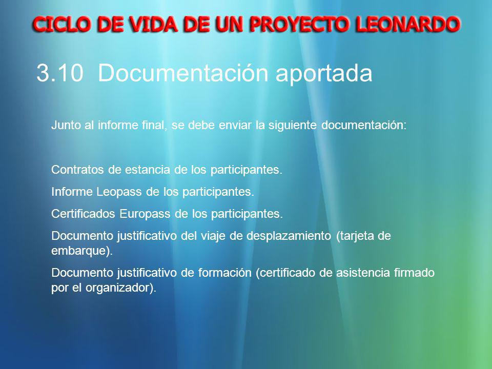 3.10 Documentación aportada