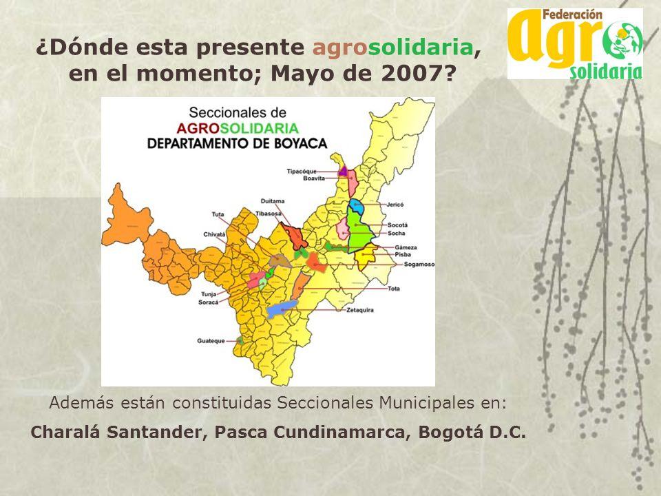 ¿Dónde esta presente agrosolidaria, en el momento; Mayo de 2007