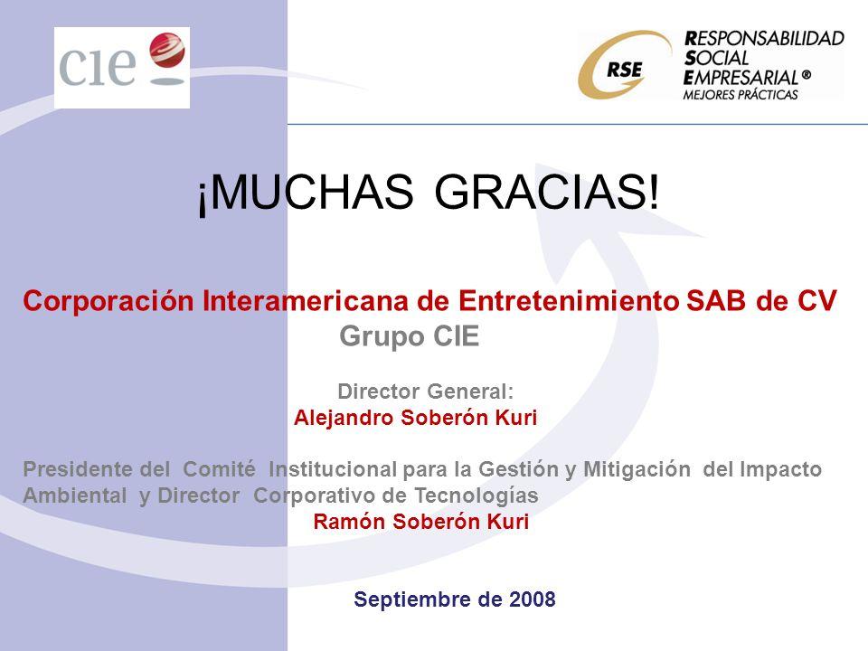 ¡MUCHAS GRACIAS! Corporación Interamericana de Entretenimiento SAB de CV. Grupo CIE. Director General: