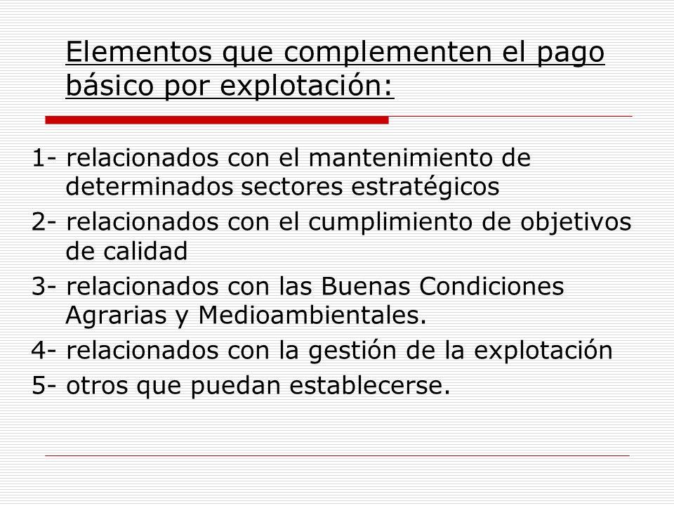 Elementos que complementen el pago básico por explotación: