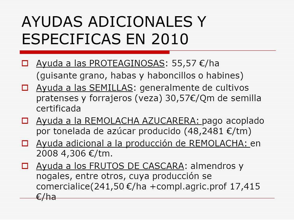 AYUDAS ADICIONALES Y ESPECIFICAS EN 2010