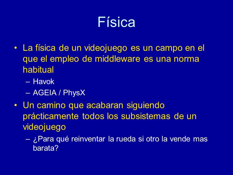 Física La física de un videojuego es un campo en el que el empleo de middleware es una norma habitual.