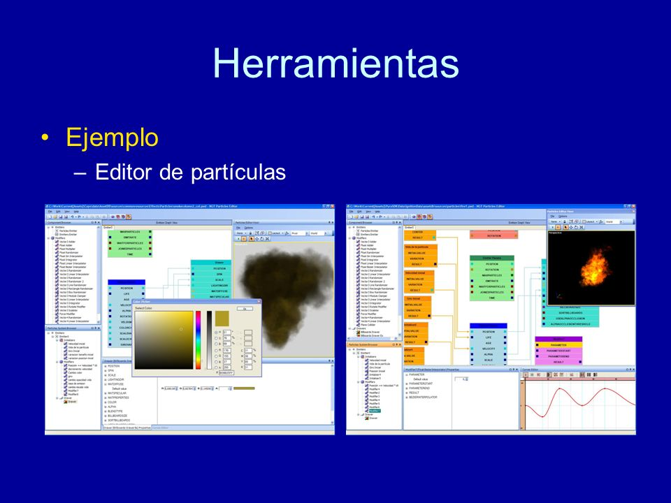 Herramientas Ejemplo Editor de partículas