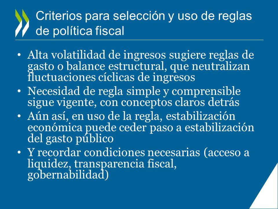 Criterios para selección y uso de reglas de política fiscal