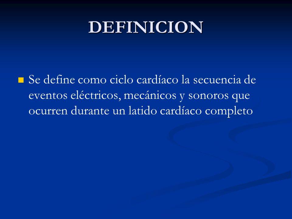 DEFINICIONSe define como ciclo cardíaco la secuencia de eventos eléctricos, mecánicos y sonoros que ocurren durante un latido cardíaco completo.