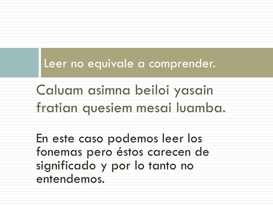 Leer no equivale a comprender.