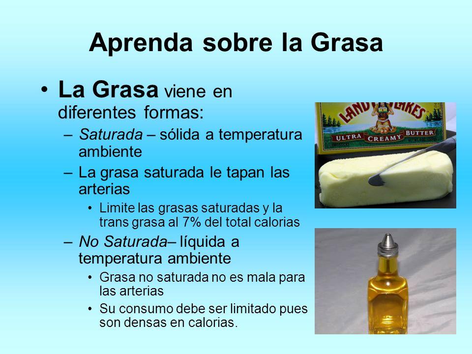 Aprenda sobre la Grasa La Grasa viene en diferentes formas: