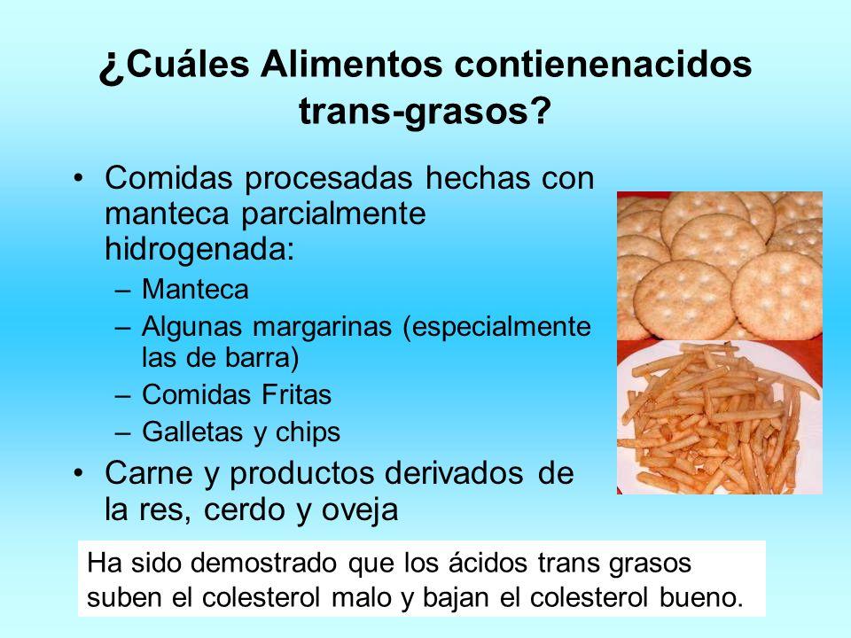 ¿Cuáles Alimentos contienenacidos trans-grasos