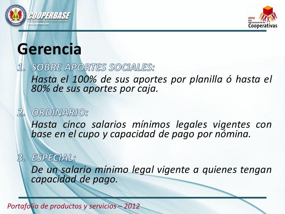 Gerencia SOBRE APORTES SOCIALES: