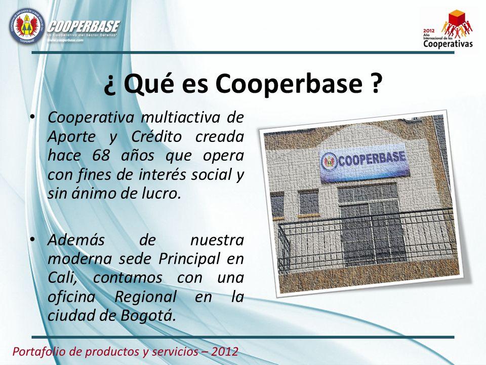 ¿ Qué es Cooperbase Cooperativa multiactiva de Aporte y Crédito creada hace 68 años que opera con fines de interés social y sin ánimo de lucro.