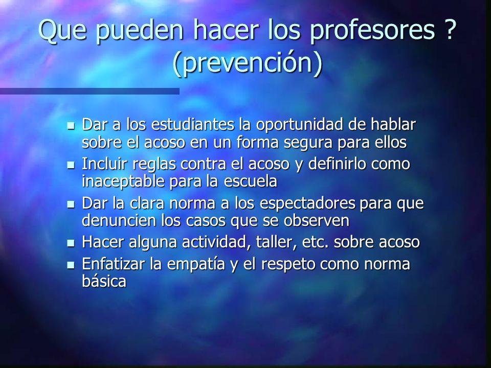 Que pueden hacer los profesores (prevención)