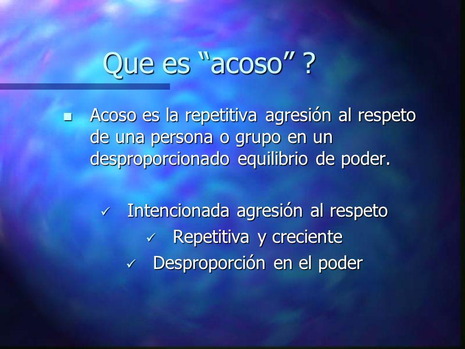 Que es acoso Acoso es la repetitiva agresión al respeto de una persona o grupo en un desproporcionado equilibrio de poder.