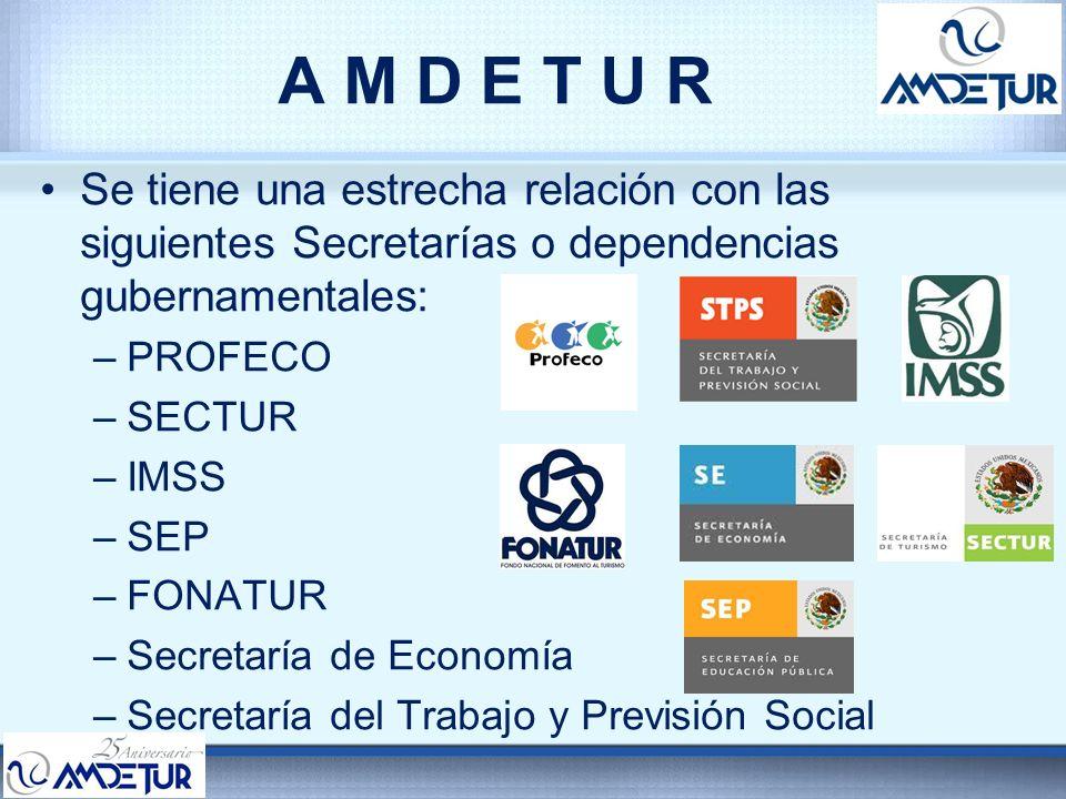 A M D E T U R Se tiene una estrecha relación con las siguientes Secretarías o dependencias gubernamentales: