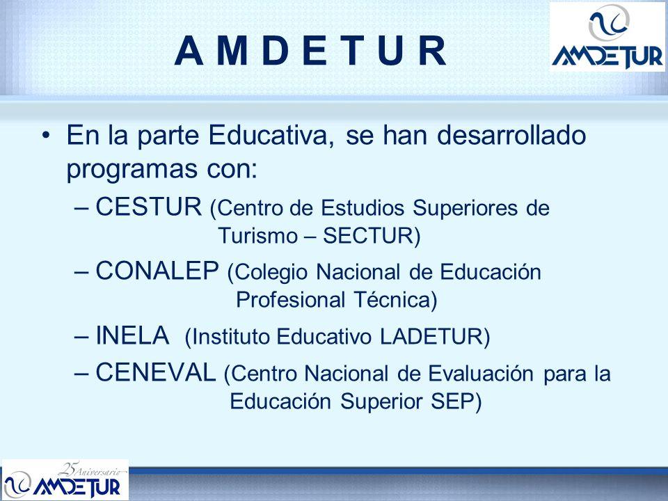 A M D E T U R En la parte Educativa, se han desarrollado programas con: CESTUR (Centro de Estudios Superiores de Turismo – SECTUR)