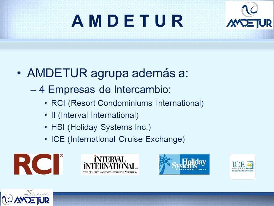 A M D E T U R AMDETUR agrupa además a: 4 Empresas de Intercambio: