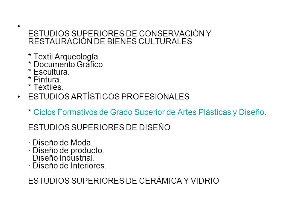 Bachillerato de artes ppt descargar for Estudios superiores de diseno de interiores