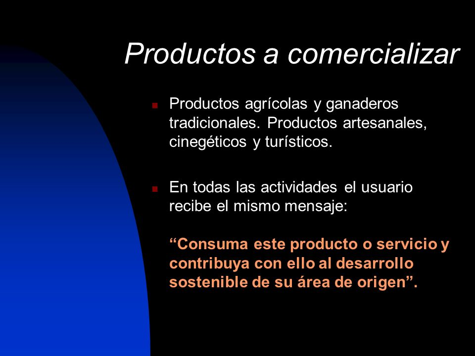 Productos a comercializar