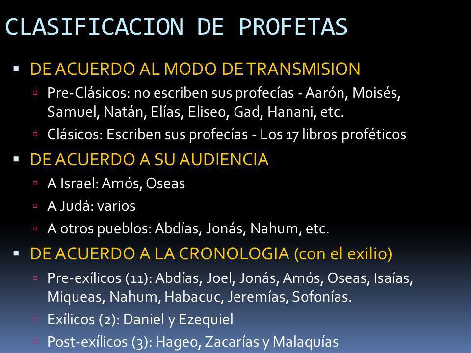 CLASIFICACION DE PROFETAS