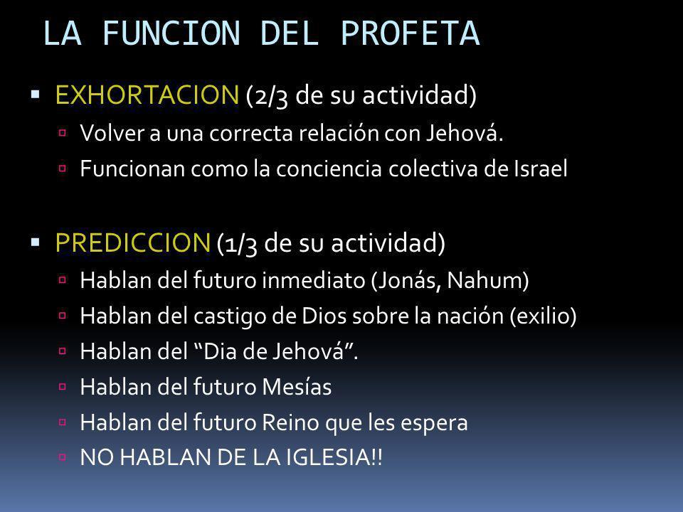 LA FUNCION DEL PROFETA EXHORTACION (2/3 de su actividad)