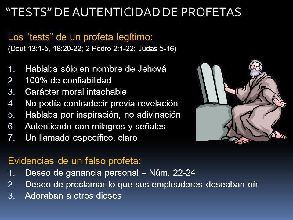 TESTS DE AUTENTICIDAD DE PROFETAS